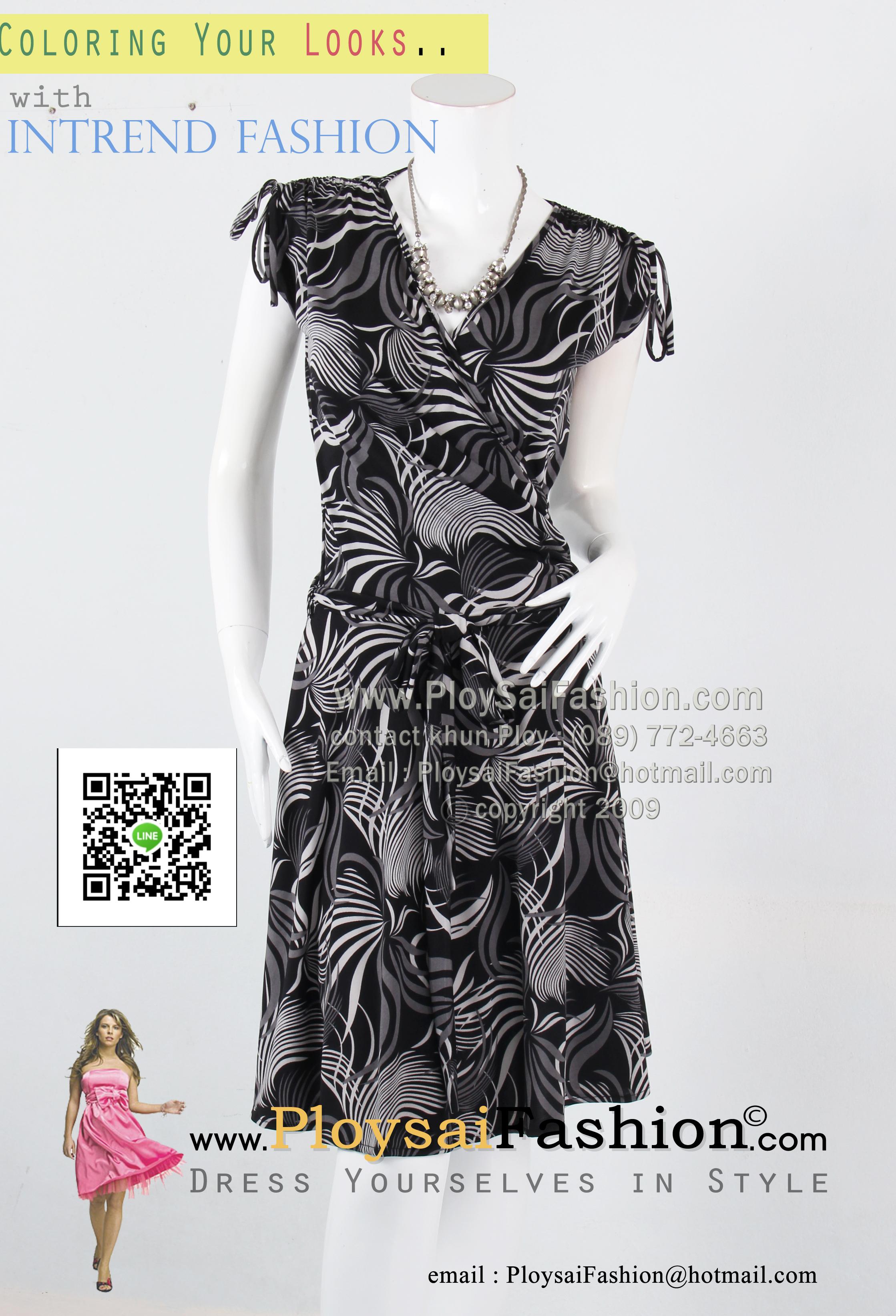 bw269 - ชุดเดรสผ้าเกาหลี พิมพ์ลายขาวดำ แขนล้ำพร้อมปรับรูดช่วงไหล่ ตัวเสื้อดีไซน์ป้าย ผ้าผูกเอวแยกชิ้น