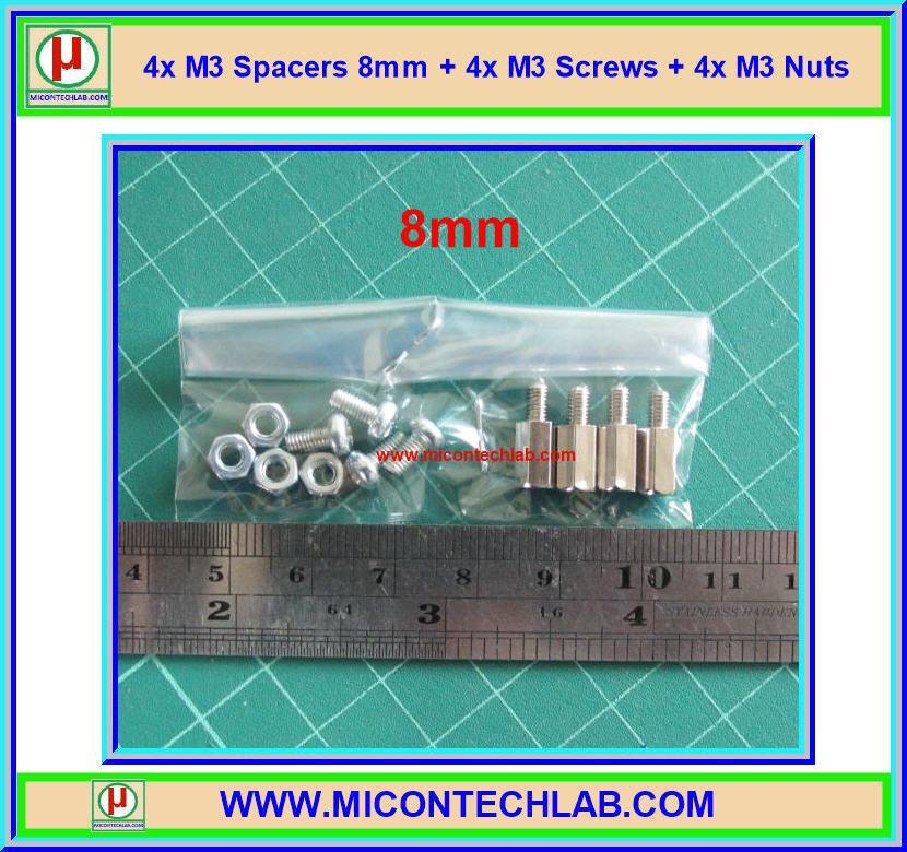 4x M3 Spacers 8 mm + 4x M3 Screws + 4x M3 Nuts (เสารองพีซีบีแบบปลายผู้เมีย 8 มม)