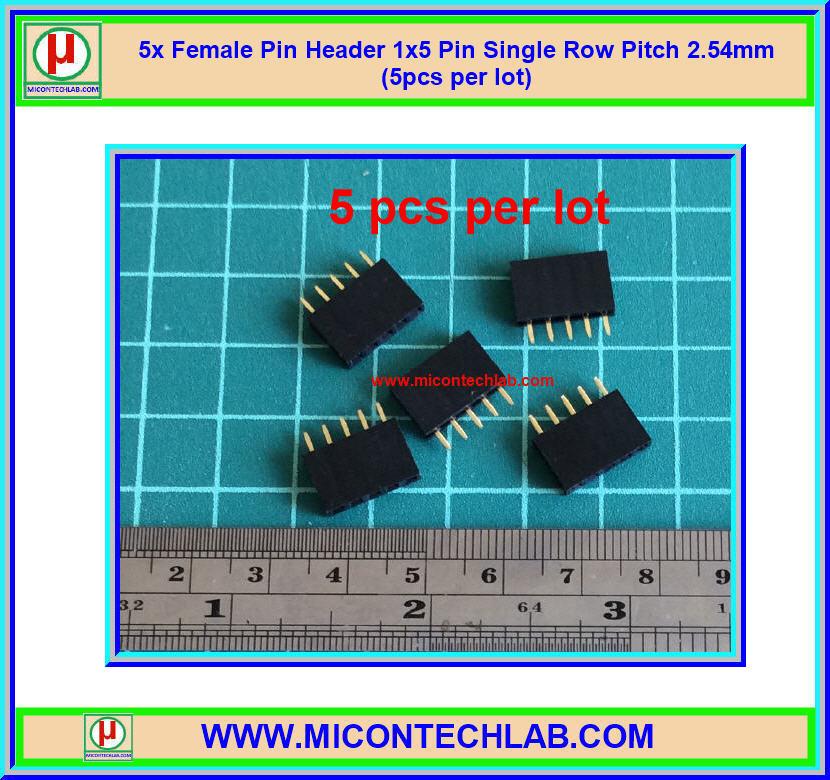 5x Female Pin Header 1x5 Pin Single Row Pitch 2.54mm (5pcs per lot)