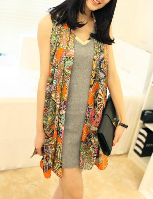 ผ้าพันคอผ้าชีฟอง สีส้ม ( รหัส P294 )