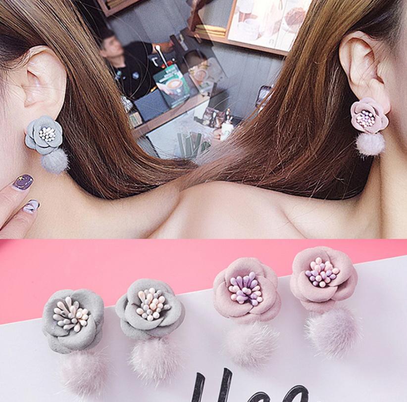เลือกสีด้านในค่ะ ต่างหู Sweet Camellia Korea ER3236