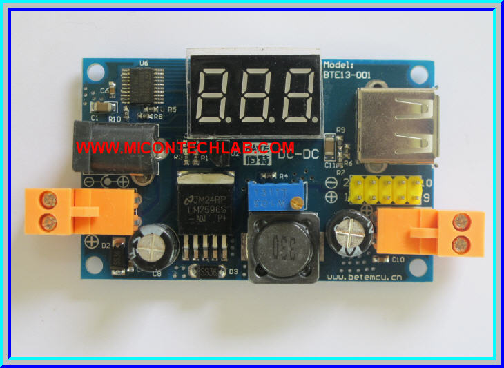 1x LM2596 DC-to-DC Step down (Buck) Converter With Volt meter USB port Output