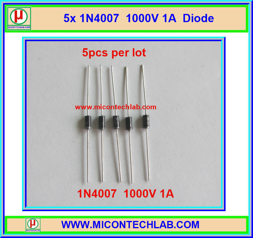5x 1N4007 Diode 1 Amp 1000 V Rectifier Diode (5pcs per lot)