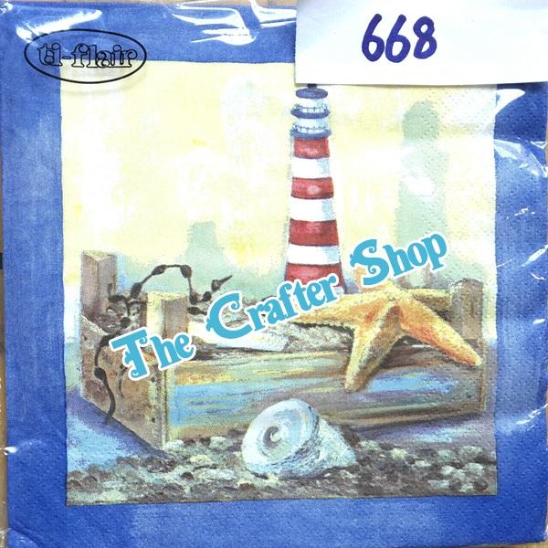 napkin ลายชายหาดทะเล (รหัสสินค้า NA-668)