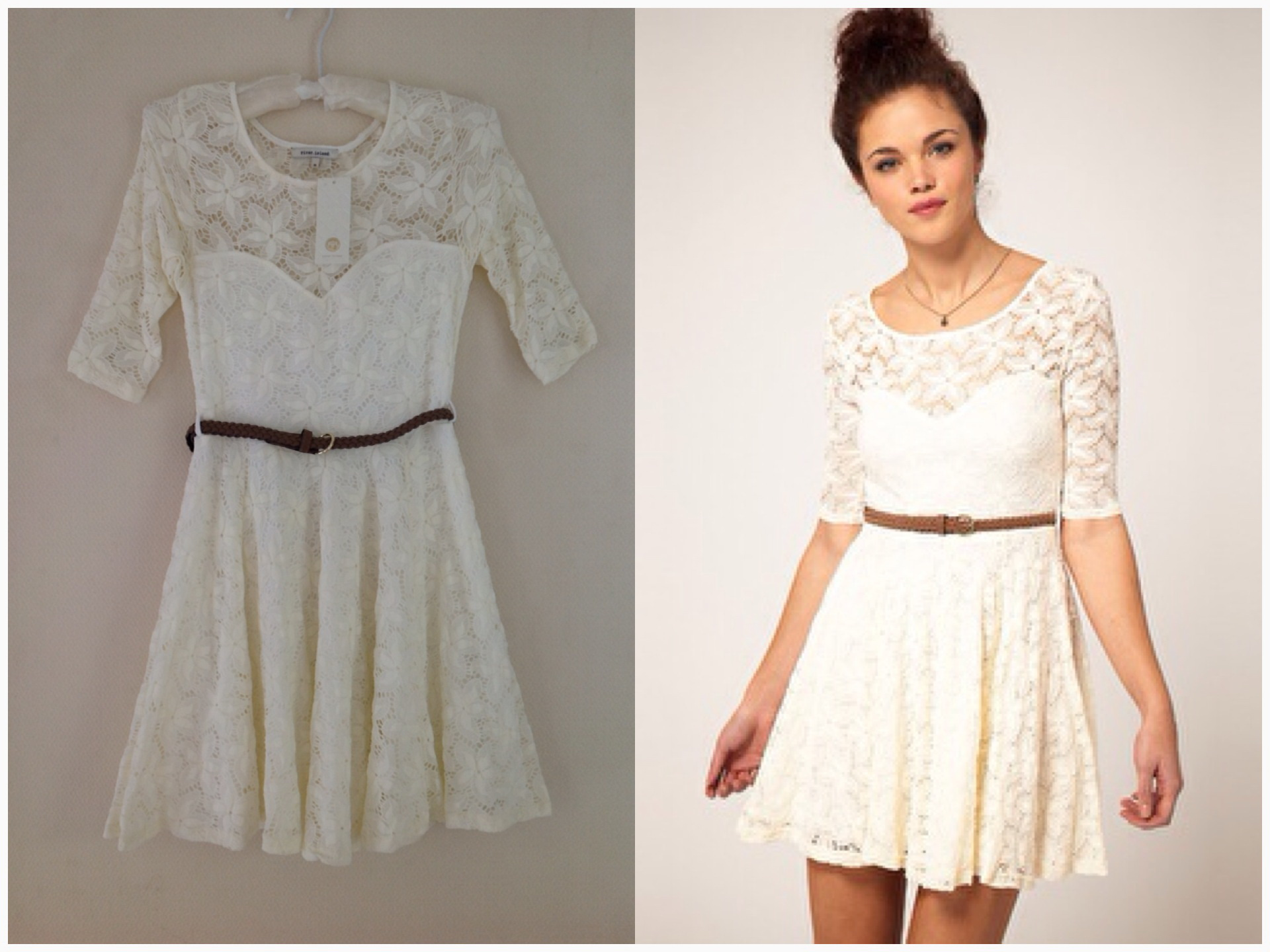 River island Cream Lace Skater Dress Size uk8