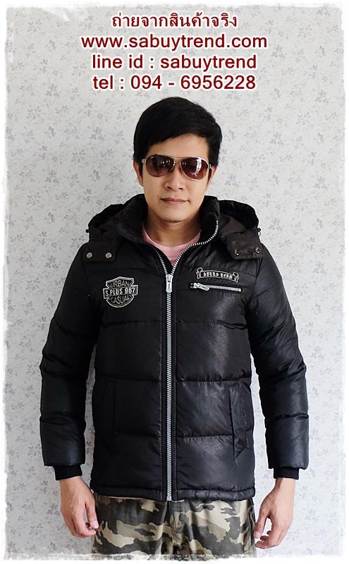 ((ขายแล้วครับ))((คุณPooจองครับ))cm-103 เสื้อแจ๊คเก็ตกันหนาวผ้าร่มสีดำ รอบอก42