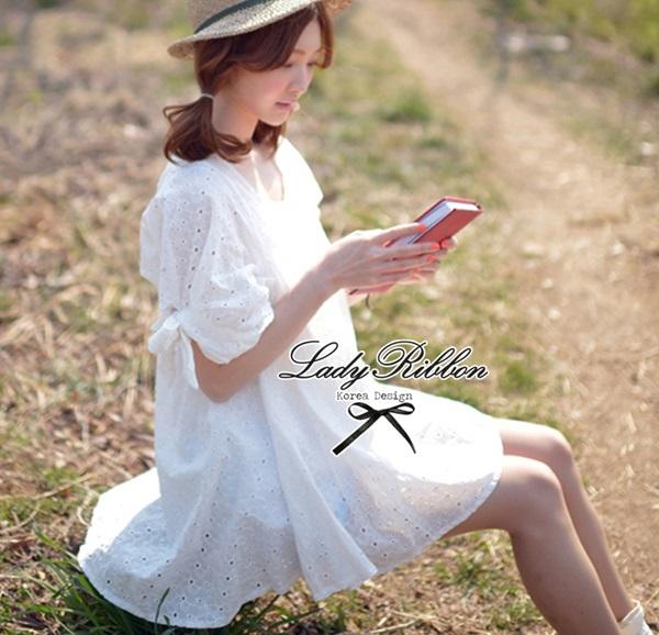 Lady Ribbon มินิเดรสผ้าลูกไม้สีขาว ฉลุลาย น่ารักหวานใส