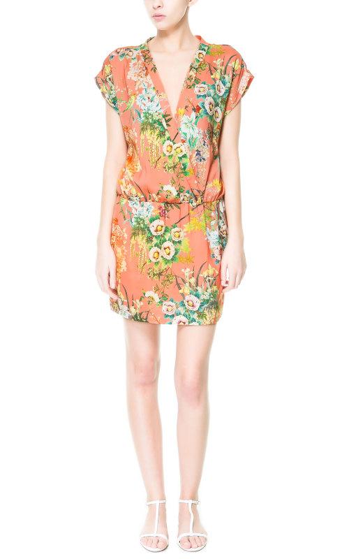 ZARA เดรส ผ้าชีฟองพิมพ์ลายดอก สีสด