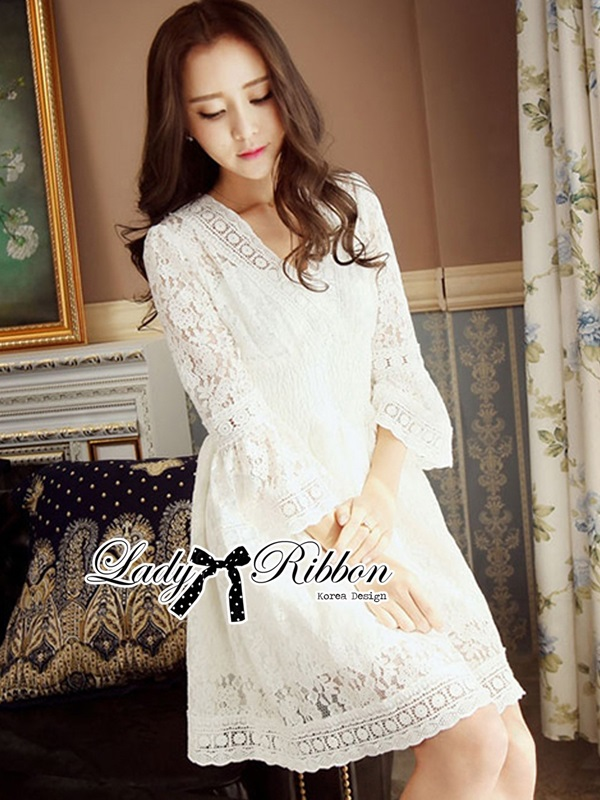 Lady Ribbon Classy Smocked Lace Dress