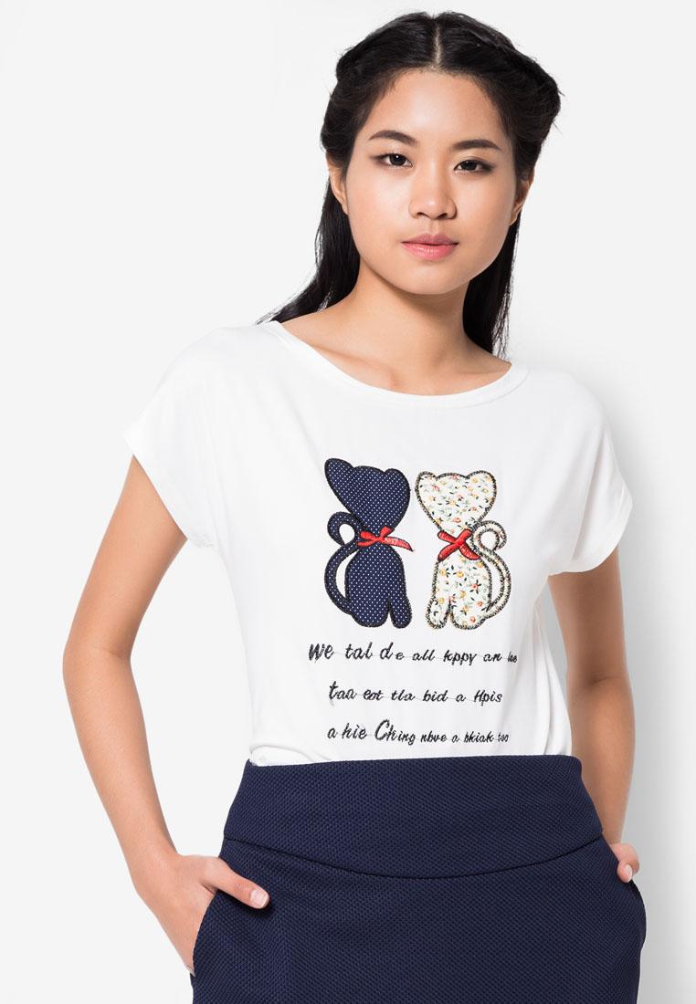 เสื้อยืด Patched Embroidered Lover Cats